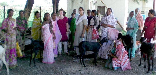 Women of Ashankur with Goats